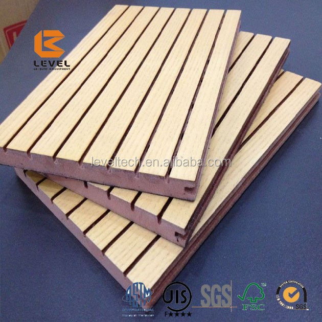 Meeting Room MDF Groove Wood Wall Acoustic Panels Noise Absorbing Wall Panels Treatment