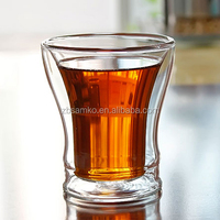 Hand made double wall glass cup for water tea beverage