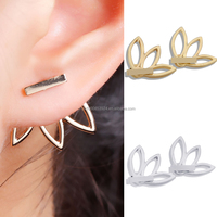 gold stud earrings for women Minimalist Ear Cuffs Lotus Flower Ear Jacket