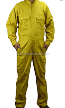 yellow EN11612 100%cotton fire retardant coverall for oil and gas industry