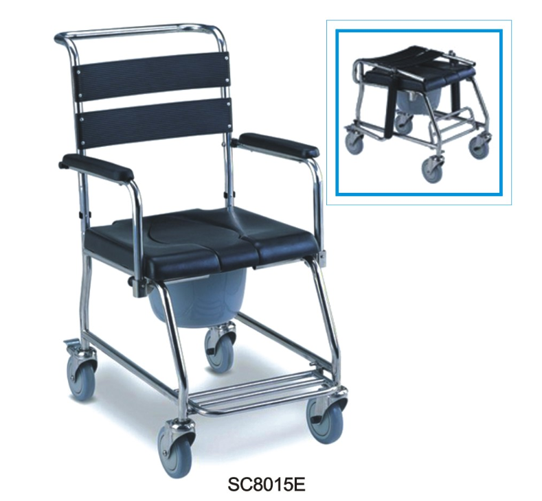 Steel folding commode wheelchair /wheelchair with toilet