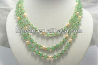 3 Rows 7-8mm Freshwater Pearls Bridal Jade Necklace & Natural Gemstone Necklaces for Women