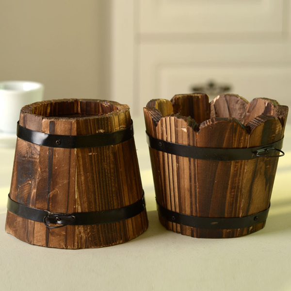 Simple retro wooden barrel,pastoral small wood barrels