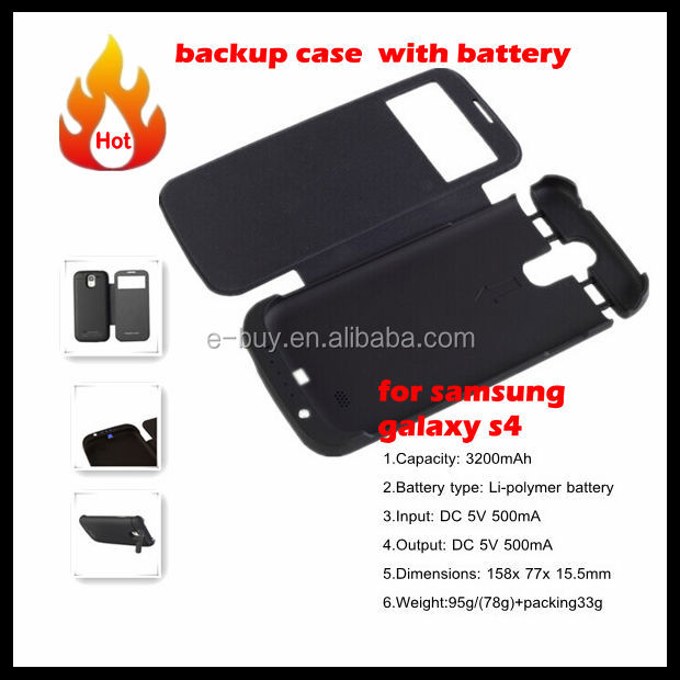 flip cover rechargeable mobile phone case for samsung galaxy s4 i9500