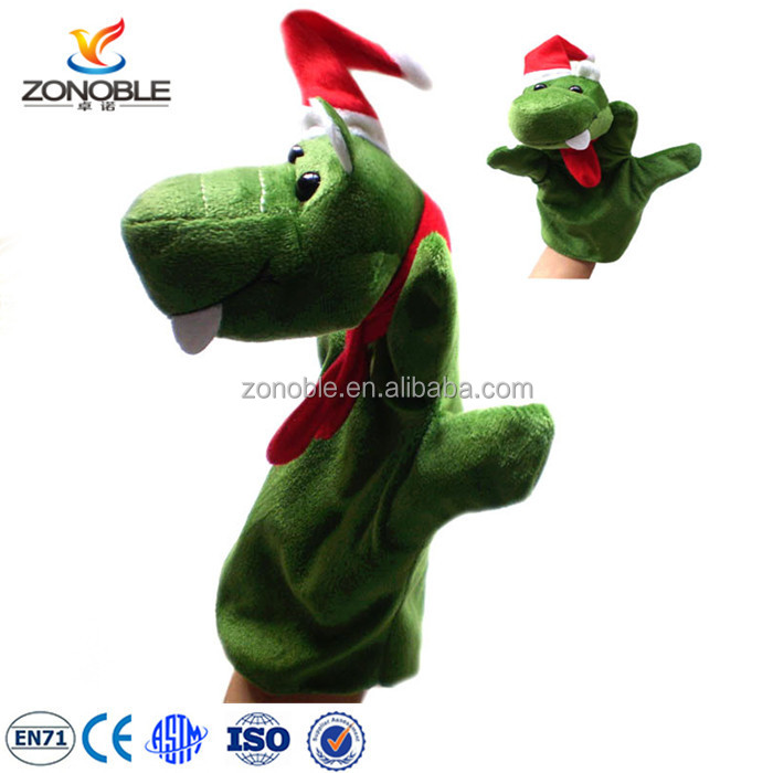 Funny christmas day gifts cute stuffed soft plush animals with santa hat custom plush snake hand puppet toy