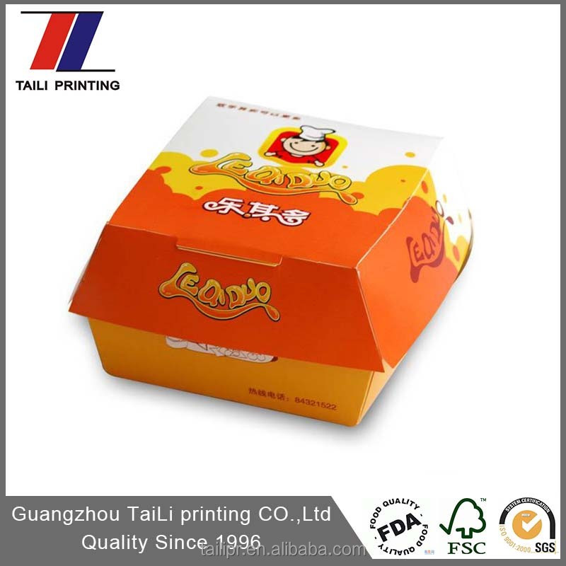 High quality food grade paper board box/Burger box & Offset printing paper burger box