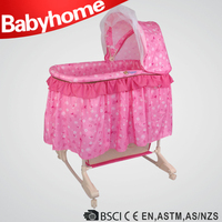 Height Adjustable Baby Meatl Bassinet With Mosquito Net