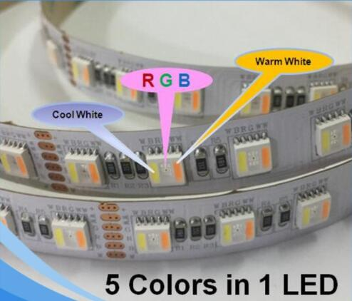 New RGB+<strong>W</strong>+WW Five Chips in One LED Dual CCT DC 24V 12V Flexible Stripe 5in1 5050 RGBWW LED Strip Light