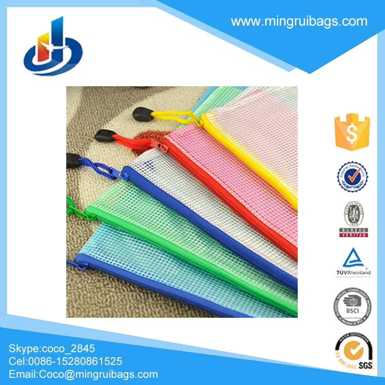 12pcs Zip Up Gridding A4 Size PVC Waterproof Office File Document Bags Pouch Holder Paper Pen Pencil Case Stationery Storage Bag