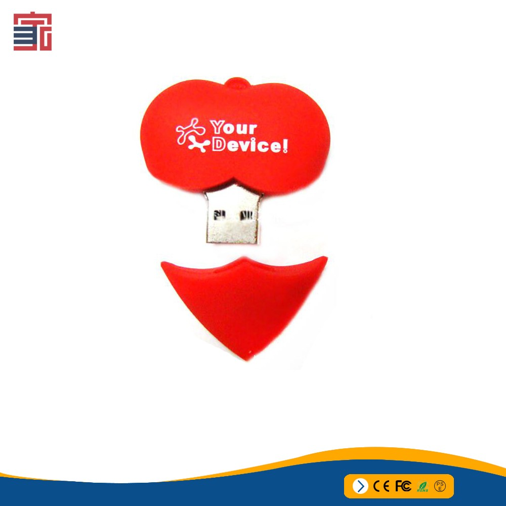 Gift promotional PVC red heart shape flash usb drive love USB for women