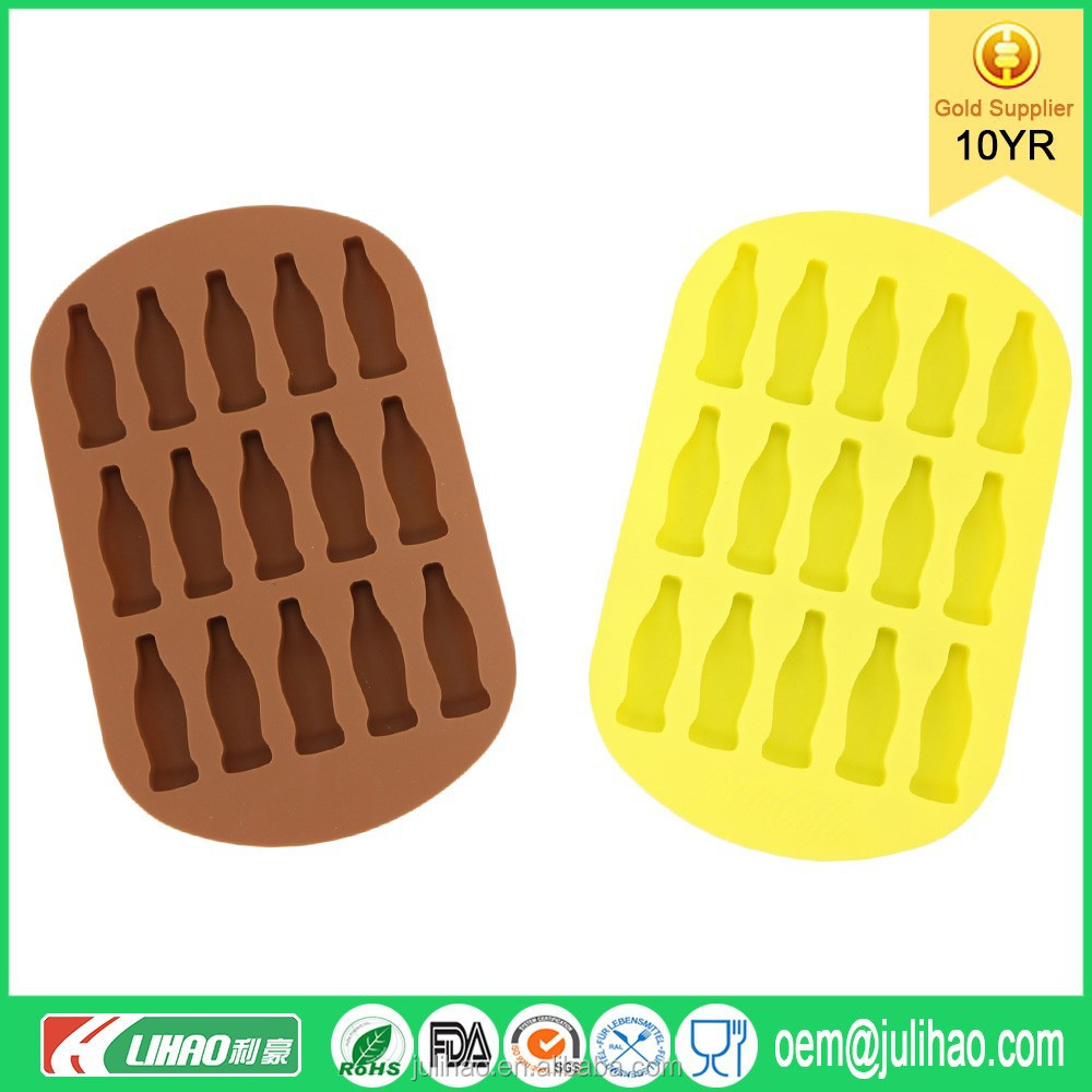cola bottle sharp personalized silicone ice cube tray/ice pop molds