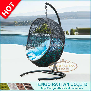 Patio rattan egg hanging chair with cushion/hanging indoor swing chair balcony furniture/ outdoor swing sets for adults(Y9068)