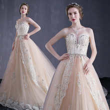 YSQ-WD36 Princess ball gown silver lace flower wedding dress with flower lace train
