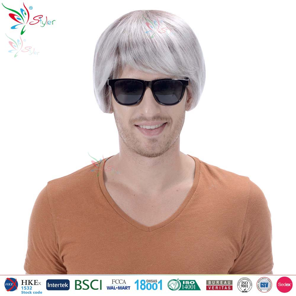 Styler Brand china wig supplier wholesale synthetic short old man grey wig