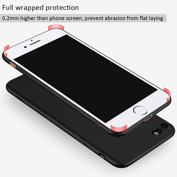 DFIFAN 2017 Stylish Matte Black Cover for iphone 8 Plus Shell , Soft TPU Case for apple iphone 7 plus wholesale
