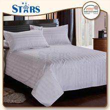 GS-FSDSH-01 OEM Satin Stripe Cheap Hotel 100 cotton white fabric for bed sheet