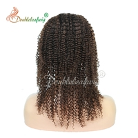 Factory Price!Thick Ends Wholesale Unprocessed Malaysian Kinky Curly Hair Full Lace Wig Malaysian hair