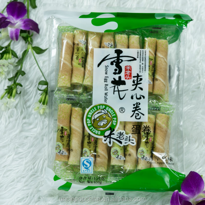 Uncle Pop snacks 150g wafers with green apple filling