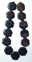 Tiger Ebony Carved Flower Wood Beads 30x5-6mm (Te-30214)