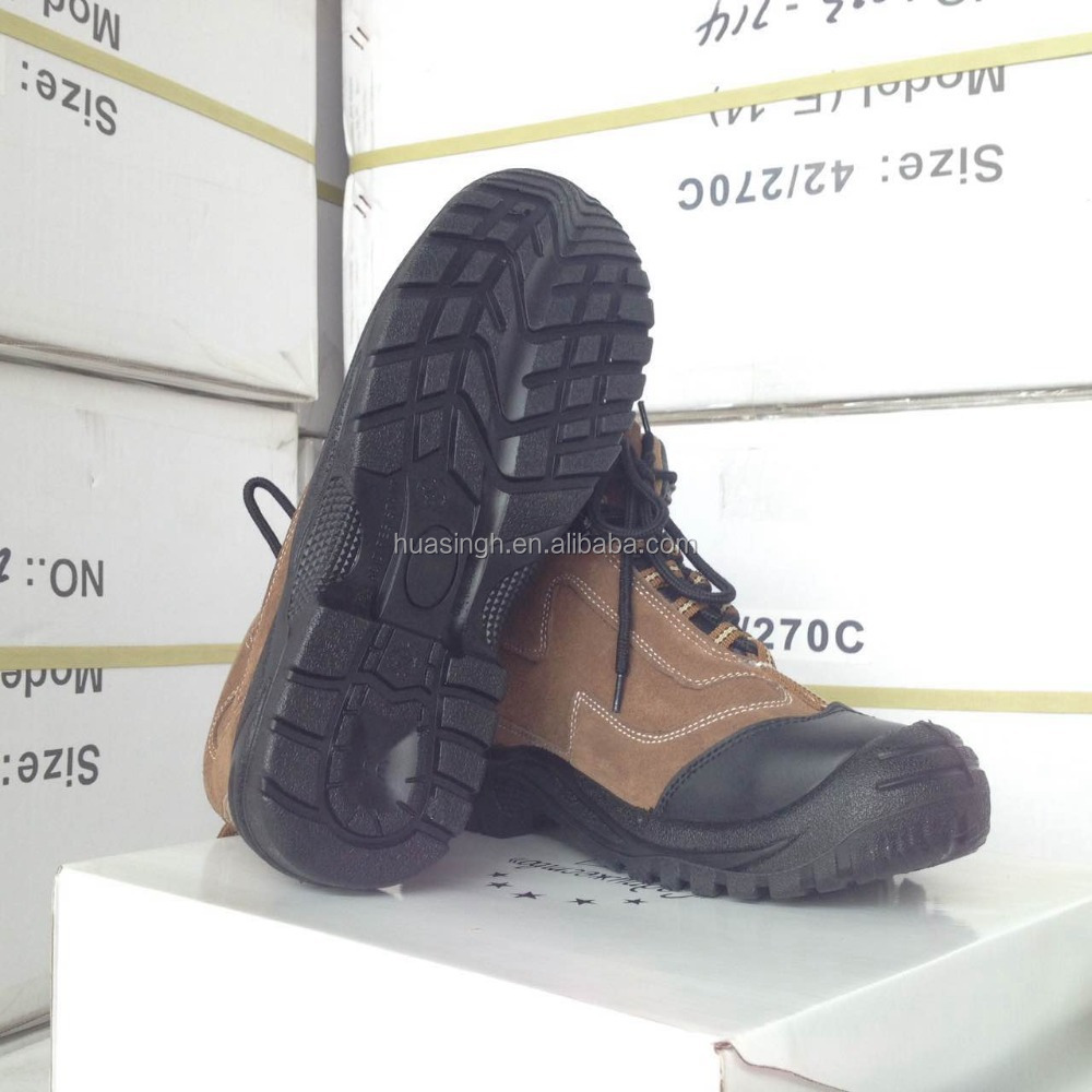 EN20345 standard casual style suede leather work boots with safety steel toe