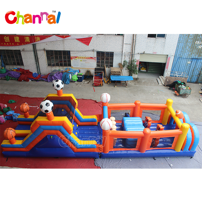 Backyard kids fun run sport inflatable obstacle course playground for sale