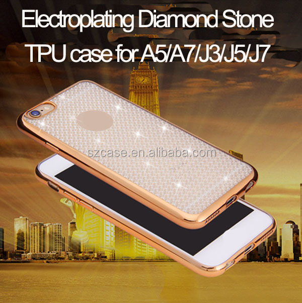 Hot selling diamond stone electroplated cell phone case for samsung galaxy a3 a5 a7 2016 a310 a510 a710