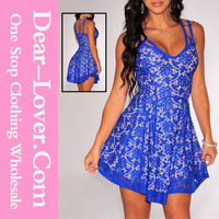 Blue Lace Nude Illusion Adult Baby Doll Dresses for Women