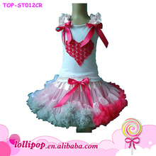 2016 Hot sale pink white cotton lace heart pattern singlet in stock garments kids wear cheap high quality princess outfit