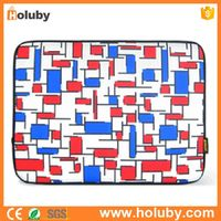 Lattice Pattern Thermal Printing Soft Sleeve Case Zipper Bag for MacBook Air 9.7 Inch/iPad 1/2/3/4 -- Red + Blue