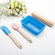 Personalized silicone baking set with rectangle shape baking pan and rolling pin