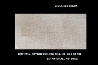 VIOLA 102 CREAM JUTE 75% COTTON 25% JUTE COTTON laminated fabric