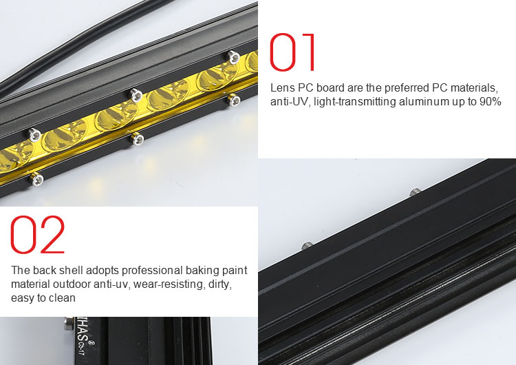Wholesale automotive Single row led light bar 27Inch 216W LED Panel Light super bright truck tractor strobe led light bars