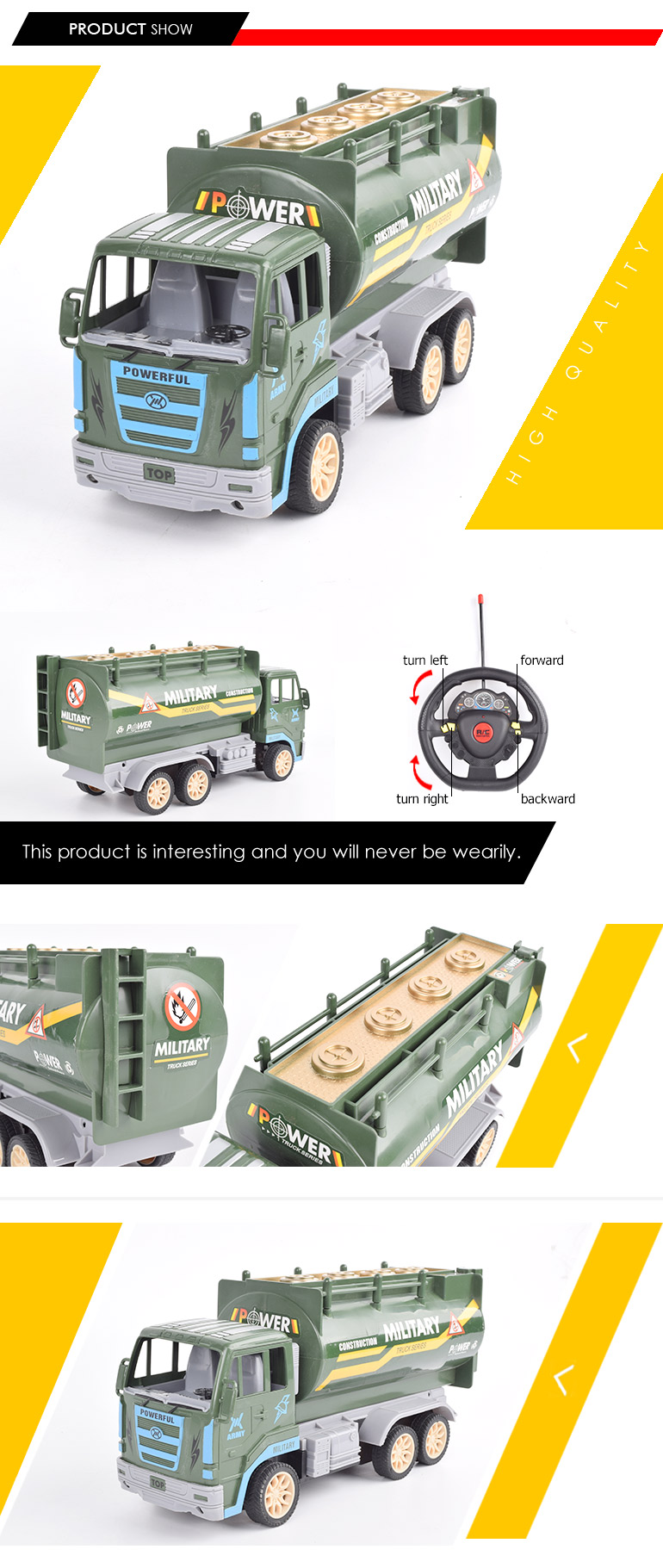 steering wheel remote control truck model military toys with gravity sensor controller
