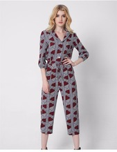 2017 Fashion Lady Women Jumpsuit Playsuit floral chiffon Long Sleeve Trousers