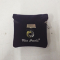Small black velvet pouch with flap/ jewelry pouch with snap,zipper and button closure