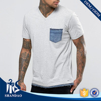 Guangzhou shandao factory v-neck short sleeve180g 95%cotton 5%spandex mens summer famous brand clothes
