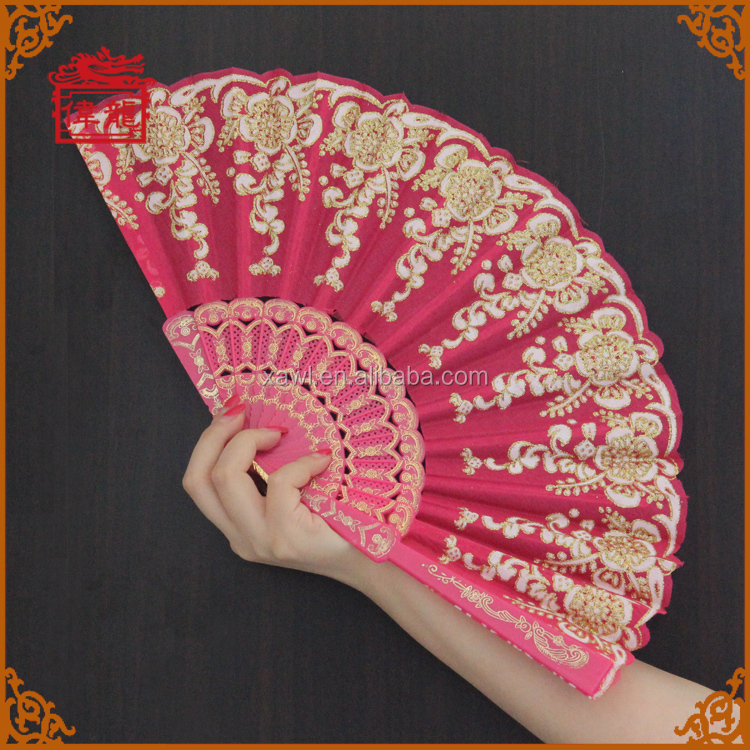promotional chinese decorative lace embroidery hand fans GYS910-1