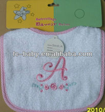 100%cotton plain baby bib with embroidery