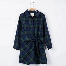 B23409A Autumn Fashion <strong>girl's</strong> Clothing long sleeved Plaid <strong>dress</strong>