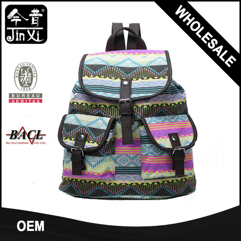 China supplier Aztec prnted canvas backpack bags 2017