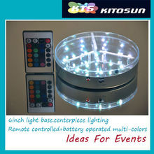 "3AA battery operated multi-colors 6"" LED light base for Clear plastic centerpiece vase"