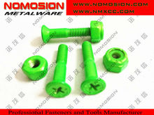 Fresh green paint head screw