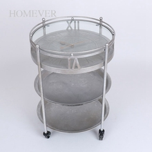 Metal Glass Top Round Coffee rolling end side Table With Wheels
