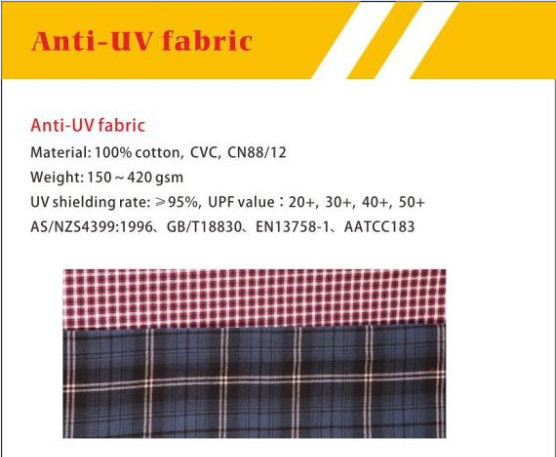 100%cotton UV protection flame resistant fabric