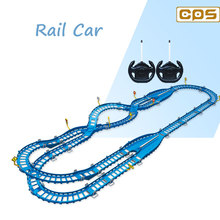 Interactive RC racing cars on train track slot car toy for children