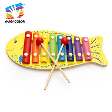 Wholesale beautiful fish shape wooden 8 tone xylophone toy for baby's music learning W07C062