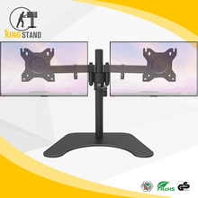 Dual LED monitor stand 2 arms hold two LCD screen TV desk mount bracket flat