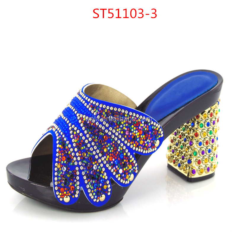 High quality ST51103-3 square heel royalblue shoes for women sandals shoes with multicolor rhinestone
