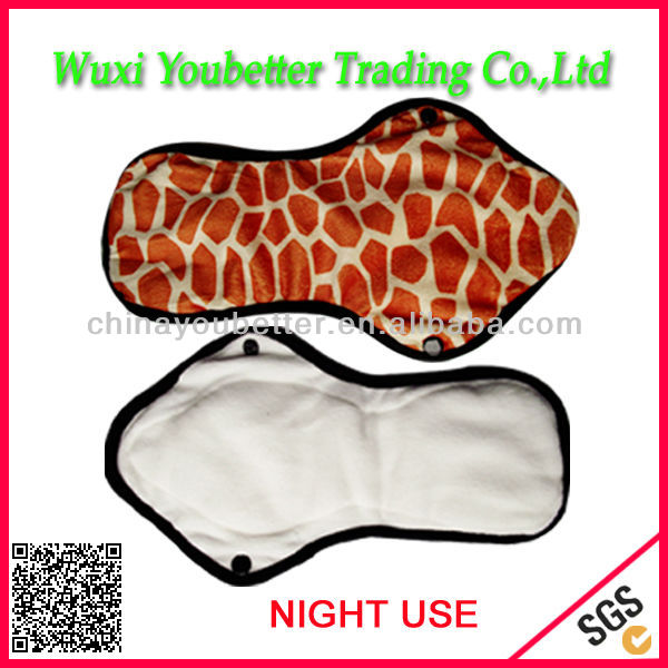 New Design Cloth Menstrual Pad Overnight Panty Liners Washable Sanitary Towels