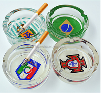 Round glass ashtray with football team for European Cup
